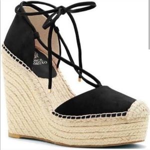 New Vince Camuto Black Airlie Suede Wedges Size 10